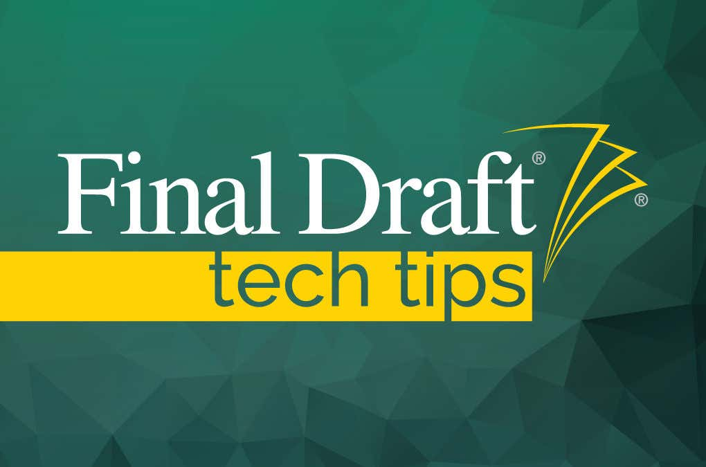 Tech Tip: Applying a Final Draft Template