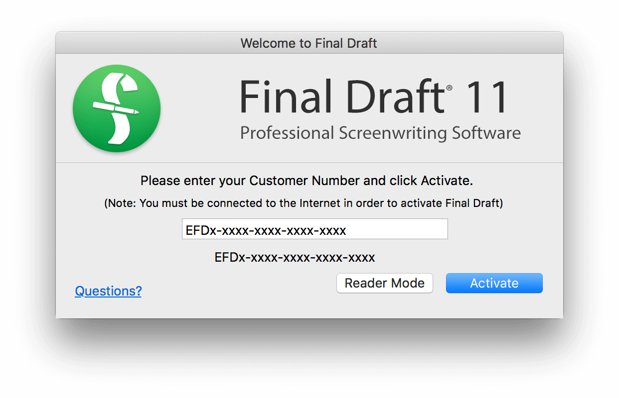 how to find my final draft serial number