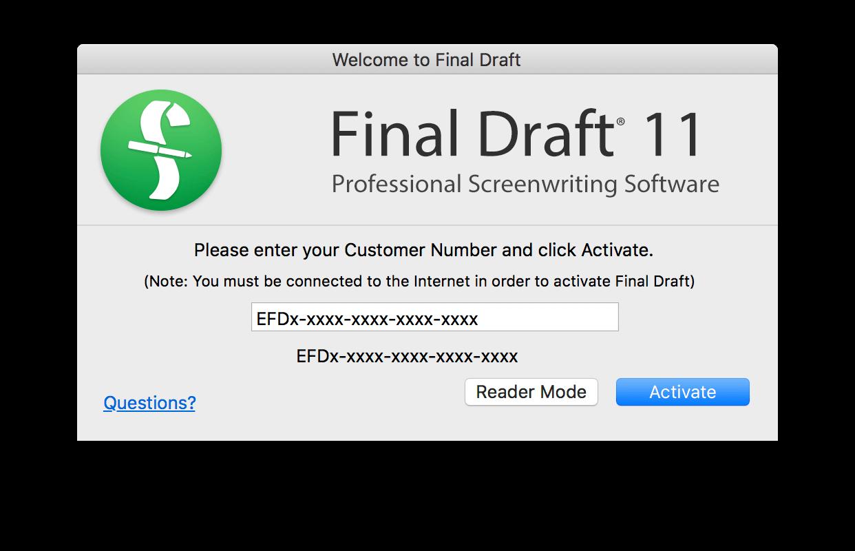 final draft serial number
