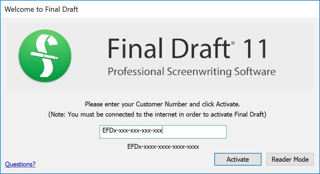 final draft 9 serial number windows
